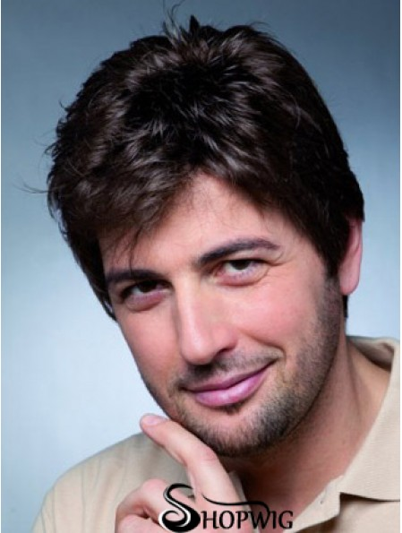 """Remy Human Monofilam 4"""" Black Wig With Short Hair For Men"""