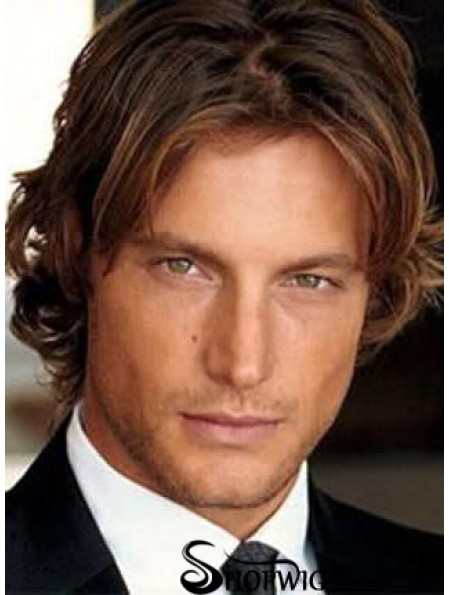 Wave Lace Front Brown Remy Human Short Mens Hair Wigs