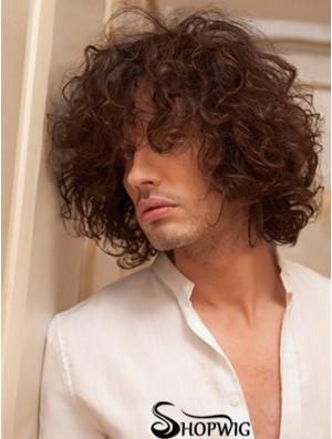 "10"" Remy Human Short Auburn Curly Capless Men Wigs"