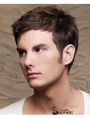 Straight Cropped Remy Human Brown Mens Human Hair Wigs