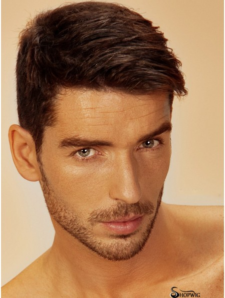 100% Hand Tied Remy Human Short Brown Straight Mens Full Lace Wigs