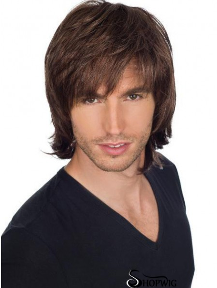8 inch Full Lace Short Straight With Bangs Mens Wig Makers