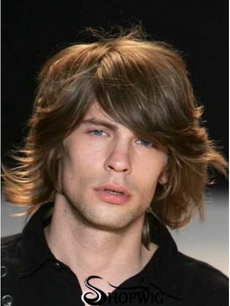 Auburn Chin Length Capless Wavy Mens Real Hair Wig