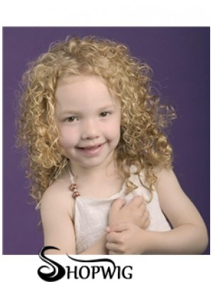 Curly Shoulder Length Blonde Synthetic 100% Hand-tied Kids Wigs