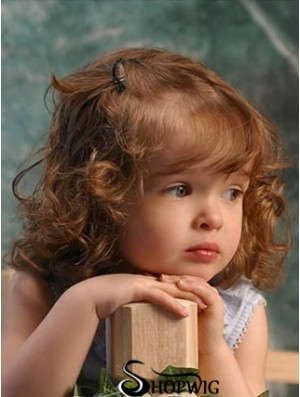 Wigs For Kids With Remy Lace Front Shoulder Length Curly Style