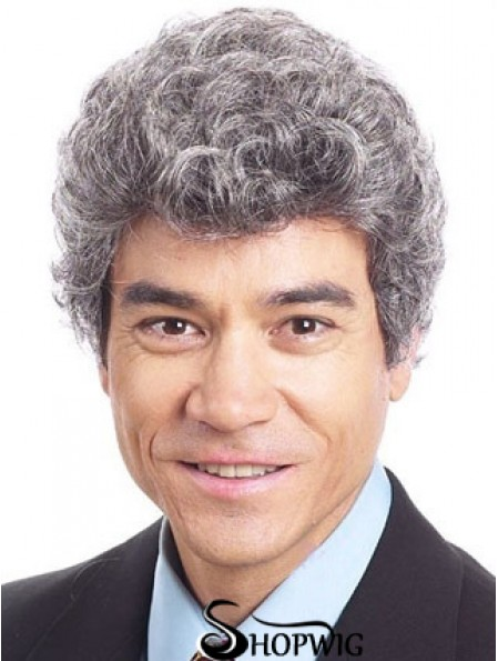 "Curly 6"" Capless Short Synthetic Old Man Wigs"