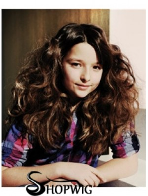 Wavy Long Brown Synthetic 100% Hand-tied Kids Wigs