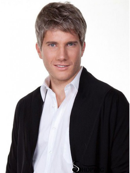 """Straight Grey 100% Hand Tied Remy Human 6"""" Silk Wigs For Men"""