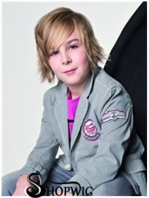 Wavy Short Blonde Remy Human Hair Capless Kids Wigs