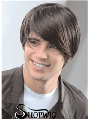 """Capless Remy Human 8"""" Straight Mens Short Wigs"""