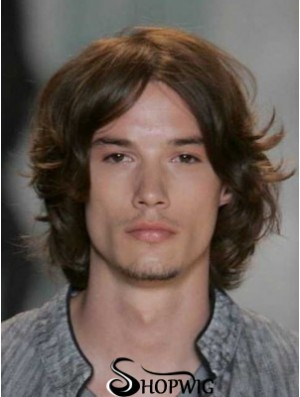 Auburn Lace Front Straight Chin Length Human Hair Men's Wigs