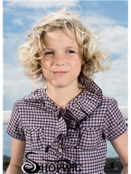 Curly Chin Length Blonde Synthetic 100% Hand-tied Kids Wigs