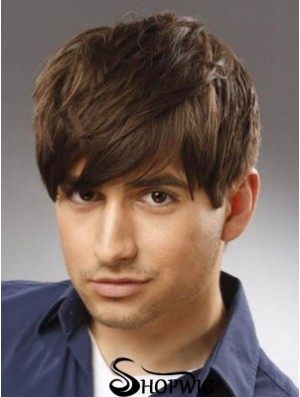 Capless Remy Human Short Straight With Bangs High Quality Long Mens Wigs