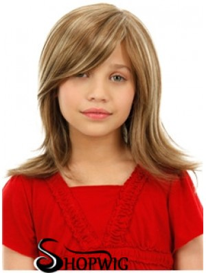 Childrens Wigs Blonde Color Shoulder Length Straight Style With Capless