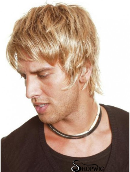 Blonde Full Lace Straight With Bangs Short Mens Blonde Wigs Cheap
