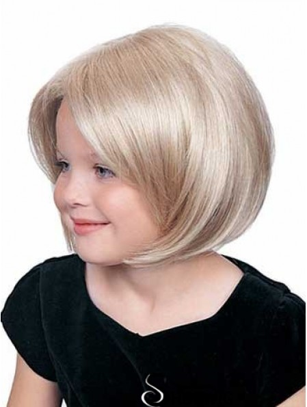Straight Chin Length Blonde Synthetic Lace Front Kids Wigs