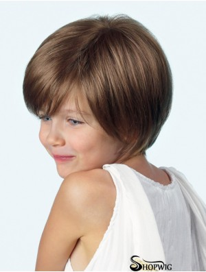 Straight Chin Length Brown Synthetic Lace Front Kids Wigs