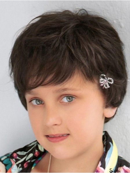 Curly Short Brown Synthetic 100% Hand-tied Kids Wigs