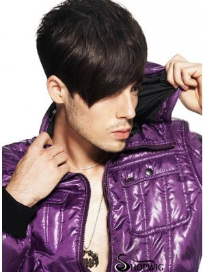 Remy Human Capless Short Straight Mens Hair Wigs
