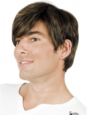 Brown Straight Short With Bangs Wigs For Men With Hair Loss