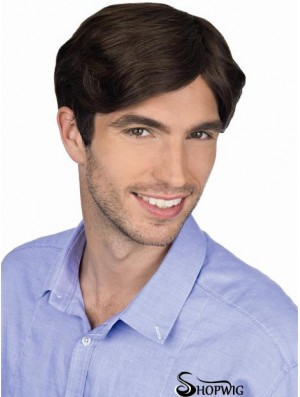 Brown Straight Remy Human 100% Hand Tied Professional Wig For Men
