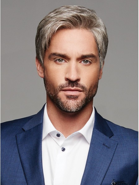 Monofilament 6 inch Straight Grey Without Bangs Wig For Men
