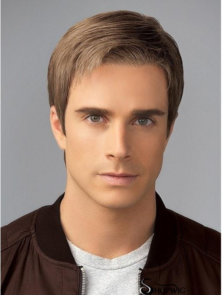 Straight Blonde Without Bangs 4 inch Wigs For Men