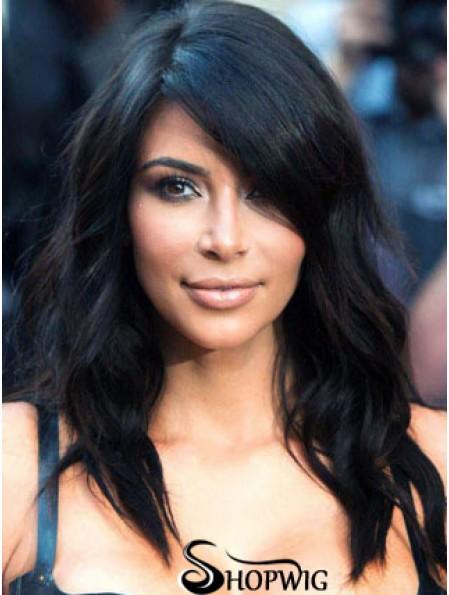 Kim Kardashian Wig With Remy Human Capless Black Color Wavy Style