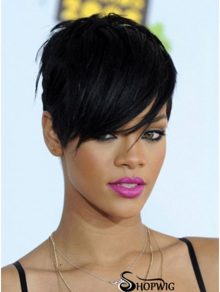 Short Rihanna Wigs Boycuts Cropped Length Black Color