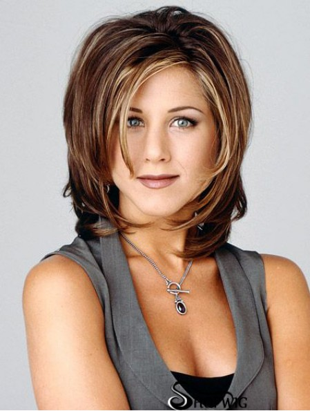 Jennifer Aniston Wigs With Capless Wavy Style Shoulder Length Brown Color