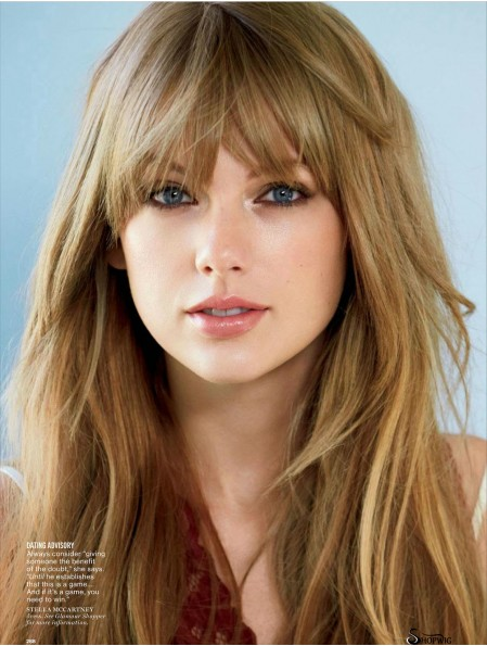 Capless With Bangs Straight Long Blonde Designed Taylor Swift Wigs