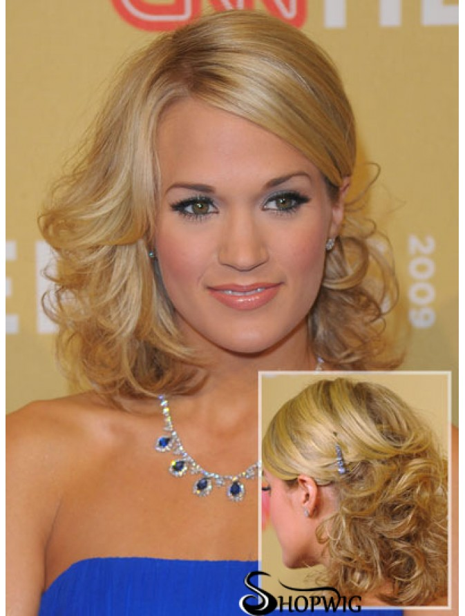 Beautiful Blonde Shoulder Length Curly 14 Inch Layered Carrie Underwood Wigs