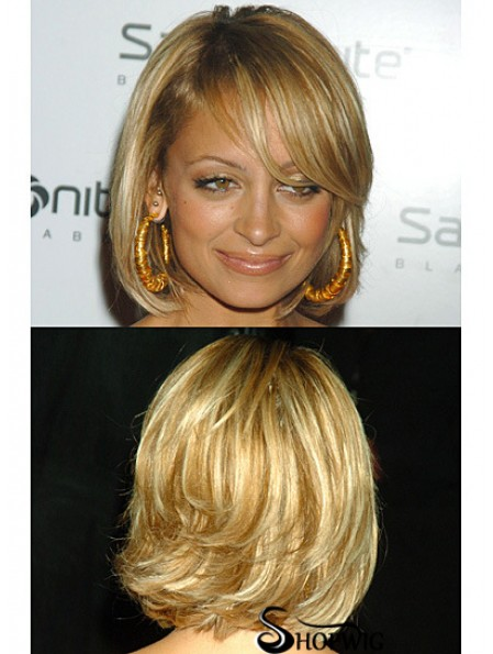 Style Blonde Chin Length Wavy 12 inch Bobs Nicole Richie Wigs