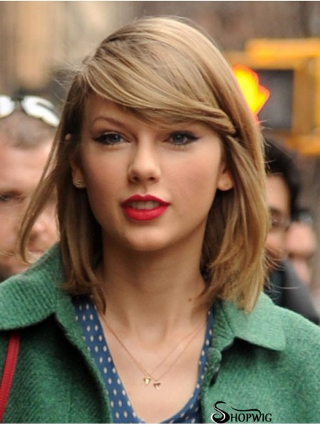 Capless With Bangs Straight Shoulder Length Blonde Cheap Taylor Swift Wigs