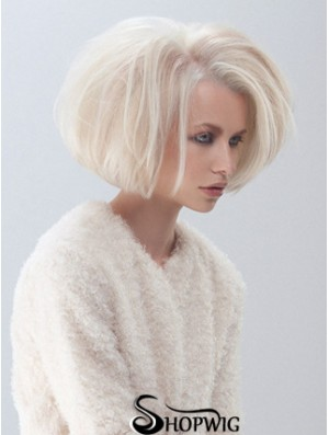 Fashion Medium Bob Wigs Platinum Color Straight Style Chin Length