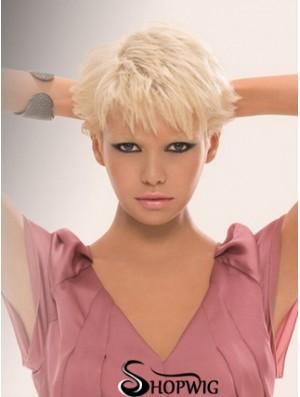 Capless Boycuts Short Straight 8 inch Platinum Blonde Trendy Fashion Wigs