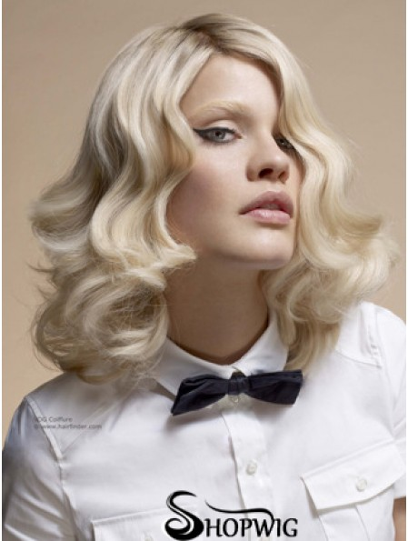 """Full Lace Without Bangs Shoulder Length Wavy 14"""" Platinum Blonde Top Fashion Wigs"""