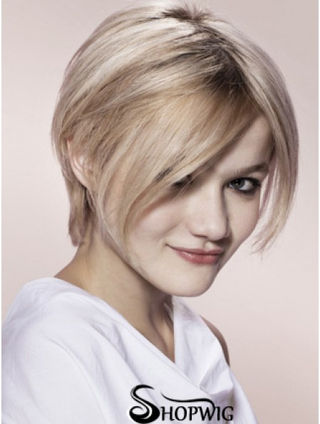 "Capless Grey Short Straight 8"" Blonde Fashion Fashion Wigs"
