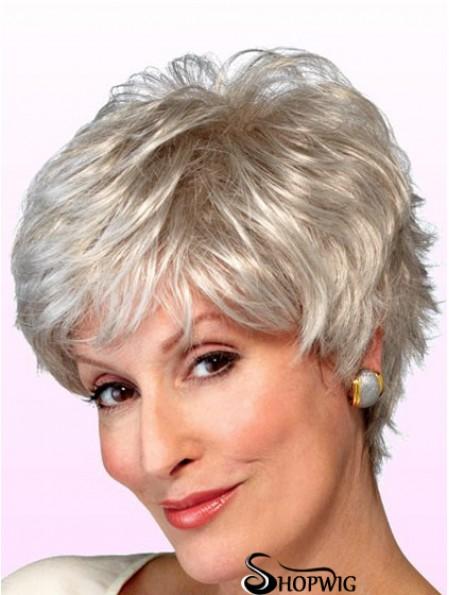 Wigs Elderly Lady Grey Style Short Length Wavy Style