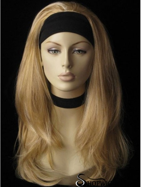 Long Straight Blonde Affordable Synthetic Half Wigs