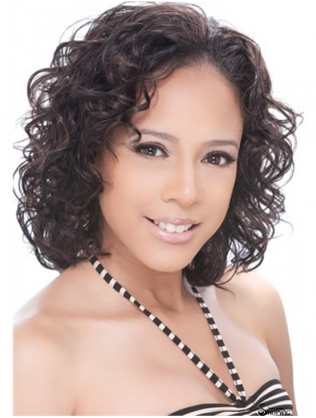 Chin Length Brown Curly Capless Brazilian Half Wigs UK
