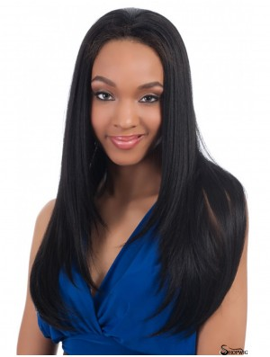 Straight Indian Remy Hair Black Long Convenient 3/4 Wigs