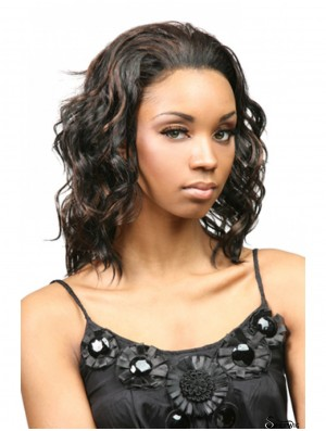 Curly Indian Remy Hair Brown Shoulder Length Fashion 3/4 Wigs
