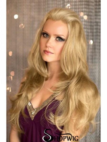 Long Wavy Blonde Comfortable Synthetic Half Wigs