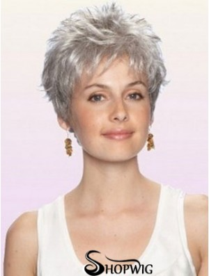 Cheap Grey Wigs With Capless Synthetic Cropped Length