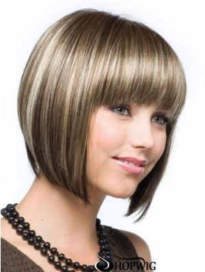 Brown Chin Length Straight Bobs Capless Wig Shop Online