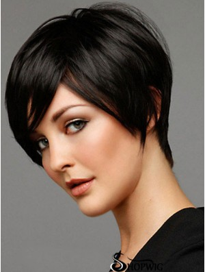 Black Wigs Straight Style Short Length Black Color Boycuts