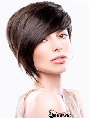 Brown Straight Chin Length Bobs Capless Cheapest Wigs Online