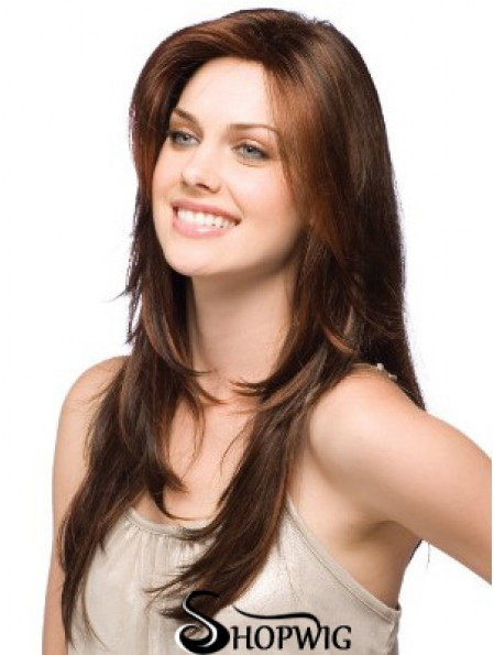 Female Wigs Layered Cut Straight Style Long Length Brown Color