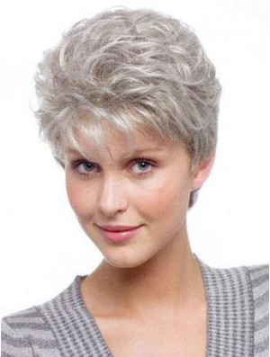 Wigs For Elderly Lady With Synthetic Grey Cut Wavy Style
